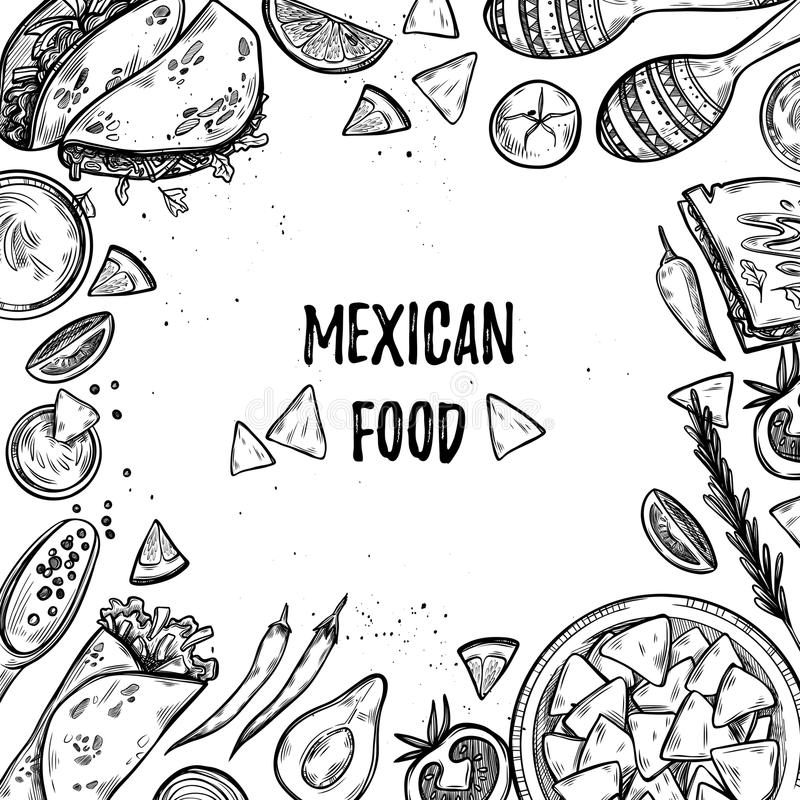 Ręki rysować wektorowe ilustracje - Meksykański jedzenie ilustracja wektor