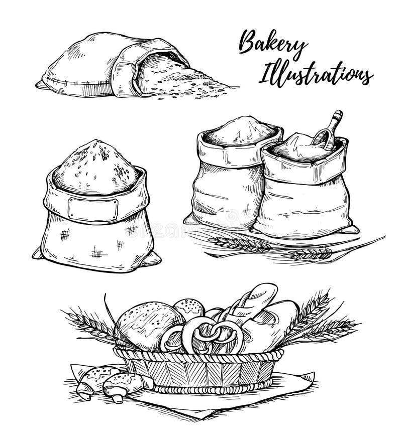 Ręki rysować wektorowe ilustracje - piekarnia Kosz z ciastem sa ilustracji
