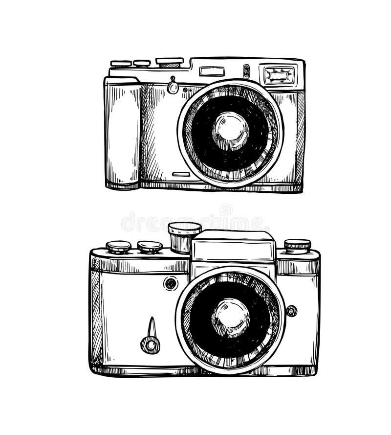 Ręki rysować wektorowe ilustracje Retro kamery inkasowe fotografia ilustracji