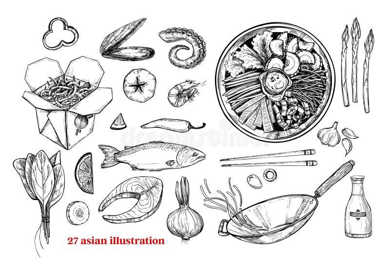 Ręki rysować wektorowe ilustracje - Wok Wok pudełko, wok niecka, bibimba ilustracji