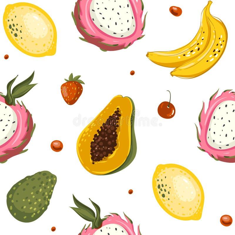 Ręki rysować wektorowe kreskówki lata owoc Bezszwowy deseniowy tło z melonowem, banan, mango, wapno, avocado ilustracji
