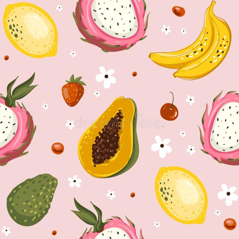 Ręki rysować wektorowe kreskówki lata owoc Bezszwowy deseniowy tło z melonowem, banan, mango, wapno, avocado royalty ilustracja