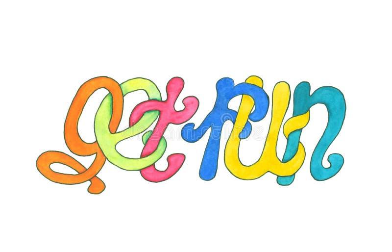 Ręki rysujący akwareli jaskrawi kolorowi słowa dostają zabawę royalty ilustracja