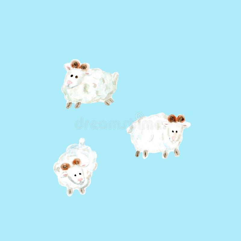 Ręki rysujący akwareli sheeps ilustracyjni ilustracji