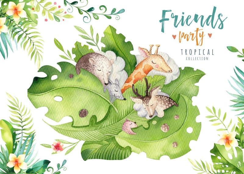 Ręki rysujący akwareli tropikalni zwierzęta Boho rogacza, myszy, żyrafy i niedźwiedzia ilustracje, dżungli drzewo, Brazil modna s royalty ilustracja
