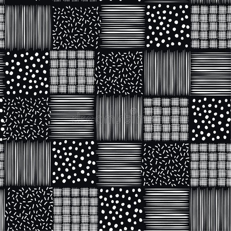 Ręki rysujący atramentów bezszwowych wzorów ręki nakreślenia wektorowi tła ilustracji