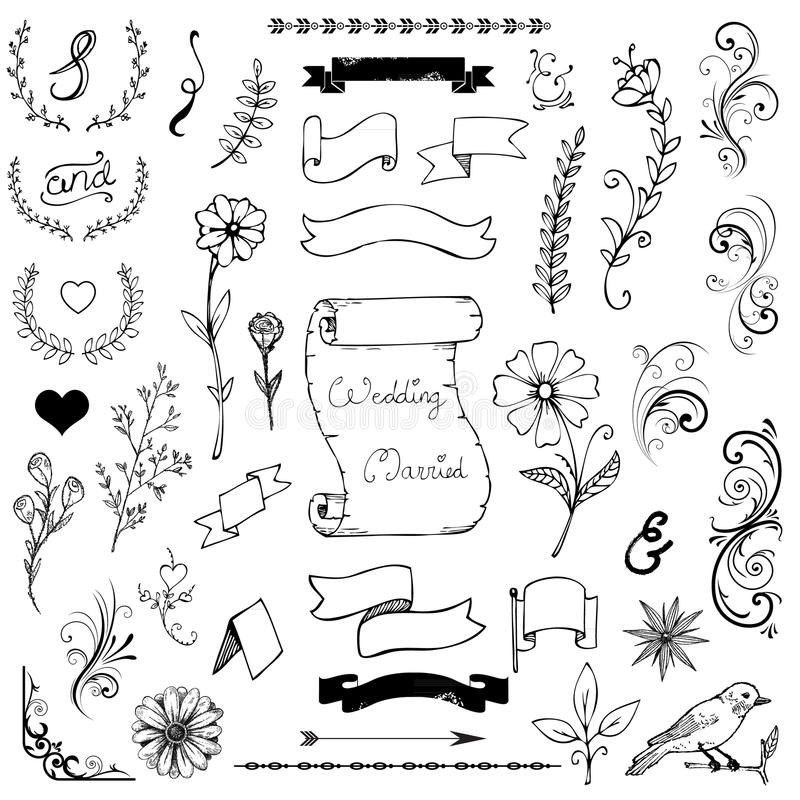 Ręki Rysujący Doodle Ampersands, krzywy, książka kąty ilustracja wektor