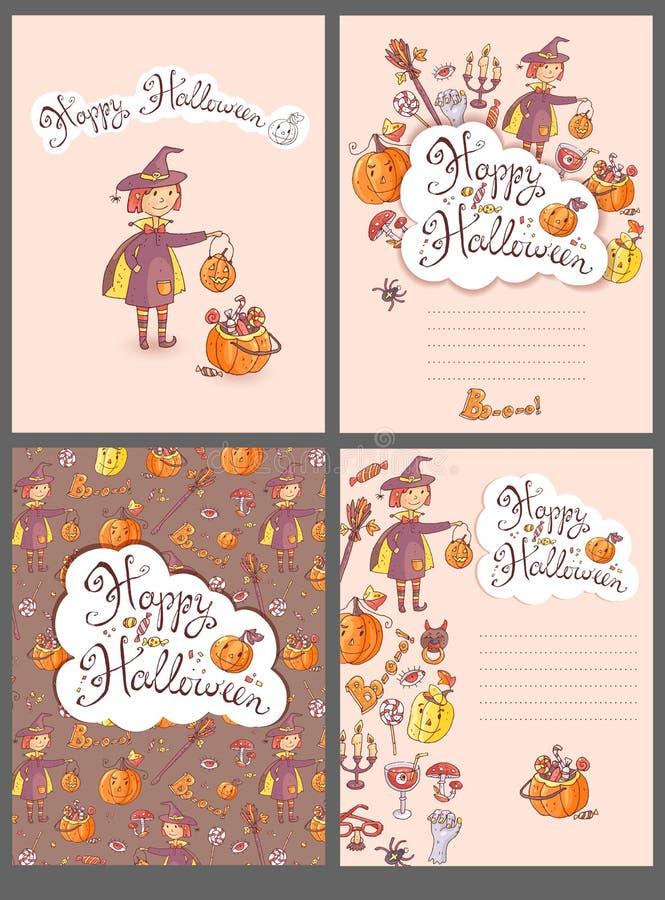 Ręki rysujący doodle Halloween wektorowi kartka z pozdrowieniami z czarownicą royalty ilustracja