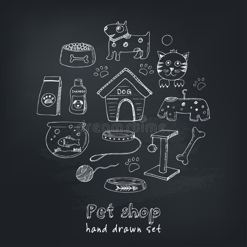 Ręki rysujący doodle zwierzęta domowe faszerują ikony ustawiać i ximpx również zwrócić corel ilustracji wektora Weterynarza symbo ilustracja wektor