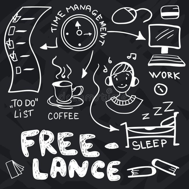 Ręki rysujący doodles o freelance ilustracja wektor