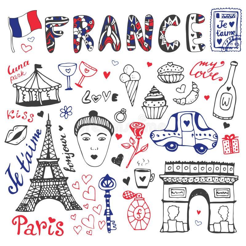 Ręki rysujący doodles ustawiają Francja wieża eifla, Triumfalny łuk i inni kultura elementy -, Wektorowa kolekcja ilustracji