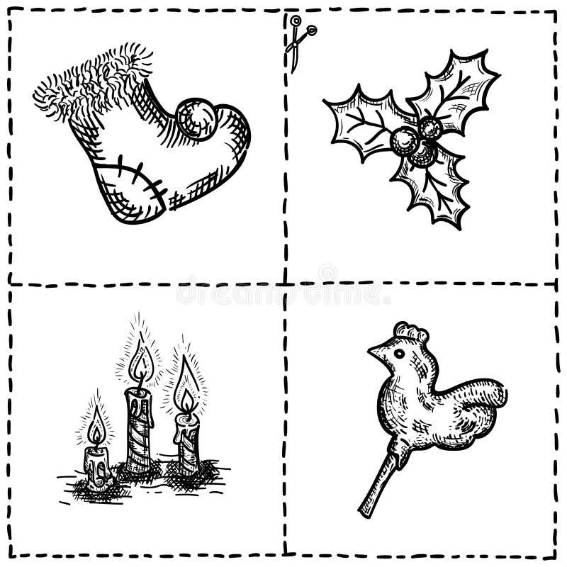 Ręki rysujący doodles wakacje ilustracja wektor