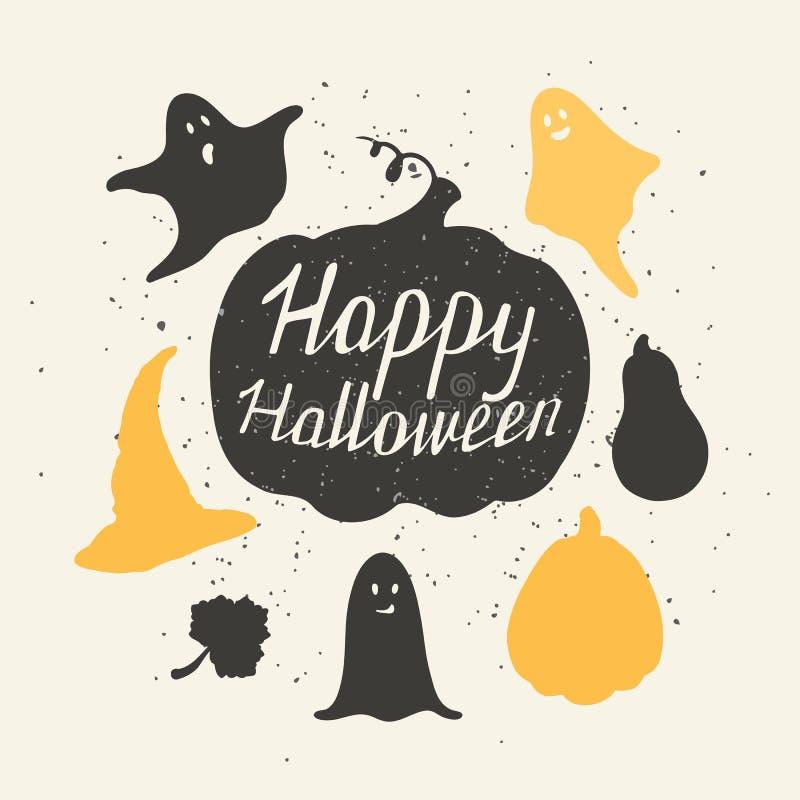 Ręki rysujący Halloween silhouetts inkasowi z ilustracja wektor