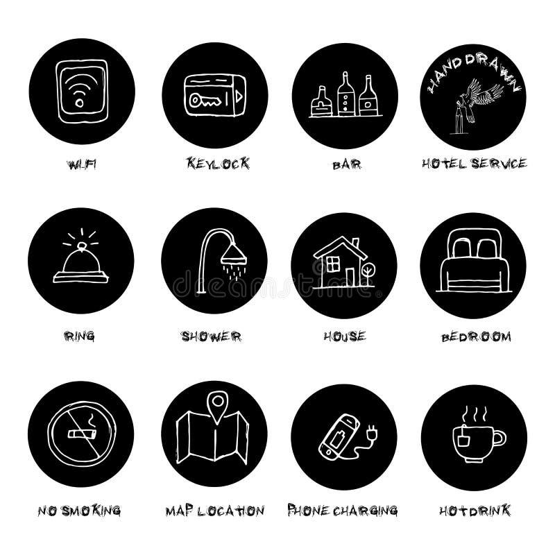 Ręki rysujący hotelowego zakwaterowania udogodnienia usługują ikony ustawiać royalty ilustracja