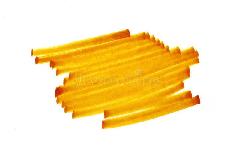 Ręki rysujący kolorów żółtych uderzenia na białym tle obraz stock