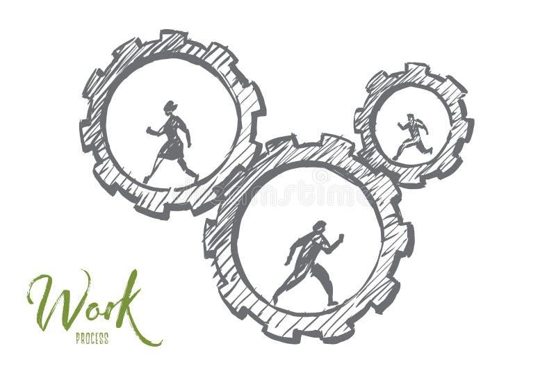 Ręki rysujący ludzie biznesu biega w cogwheels royalty ilustracja