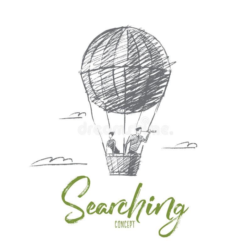 Ręki rysujący ludzie biznesu na lotniczym ballon royalty ilustracja