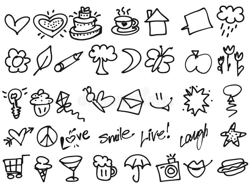 Ręki rysujący Malutcy przyjęć urodzinowych doodles ilustracji