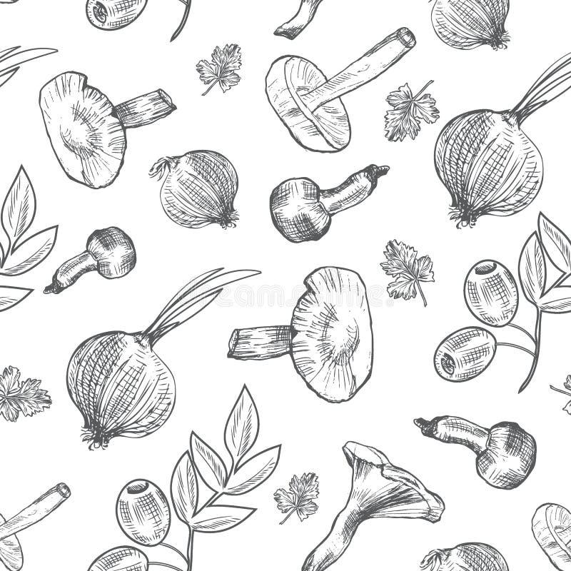 Ręki rysujący nakreśleń warzywa, wektoru wzoru pieczarki, oliwka, pieprz, cebula odizolowywająca na białym, ideał dla use w żywno ilustracji