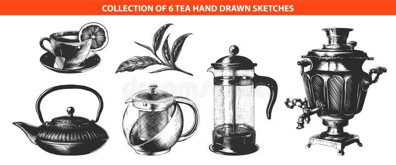 Ręki rysujący nakreślenia w monochrom odizolowywający na białym tle Szczegółowy rocznika woodcut stylu rysunek ilustracji