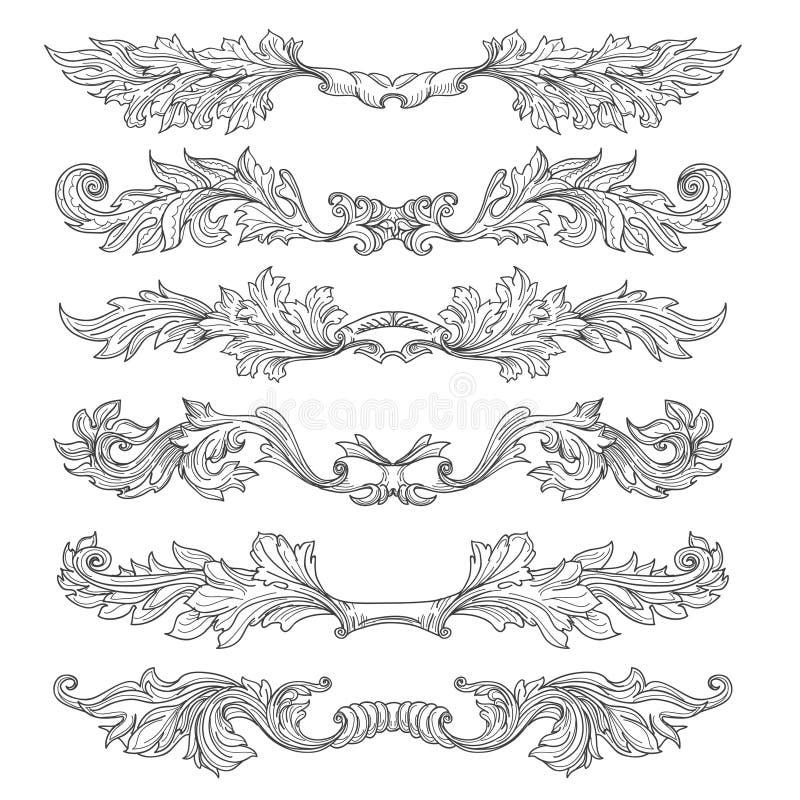 Ręki rysujący rocznik strony dividers z dekoracyjnymi kwiecistymi zawijasami i ślimacznicami ilustracji