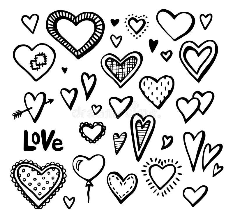 Ręki rysujący serca ustawiający projektów elementy również zwrócić corel ilustracji wektora Walentynek serca ilustracji