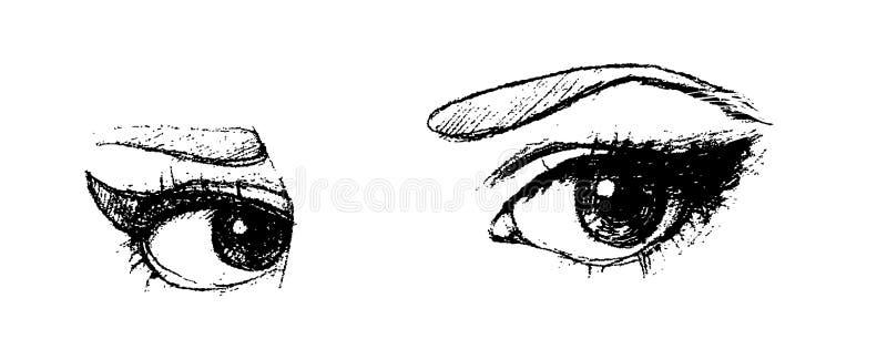 Ręki rysujący wektorów oczy ilustracji