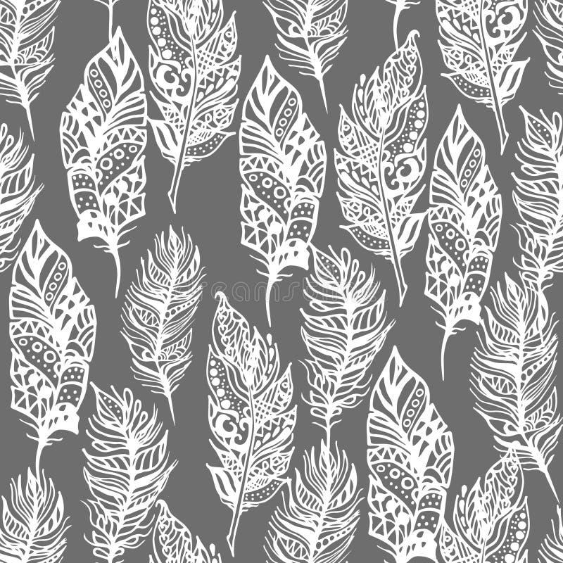Ręki rysujący wektorowego zentangle doodle biali piórka ilustracji