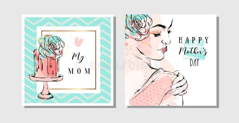 Ręki rysujący wektorowi abstrakcjonistyczni kartka z pozdrowieniami ustawiający z Szczęśliwą matka dnia kaligrafią i kobiety post royalty ilustracja
