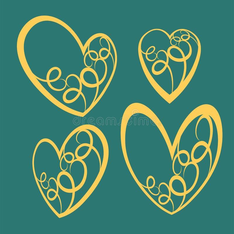 Ręki rysujący wektorowi valentine serca dla projektów, dekoracyjna elementów eps pliku ilustracja wektor