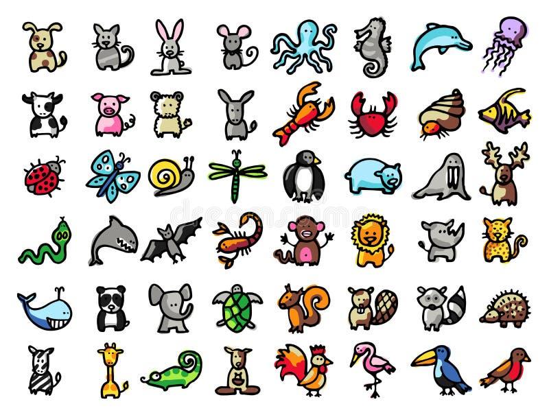 48 ręki rysujących zwierząt, czerni linia i kolory, ilustracja wektor