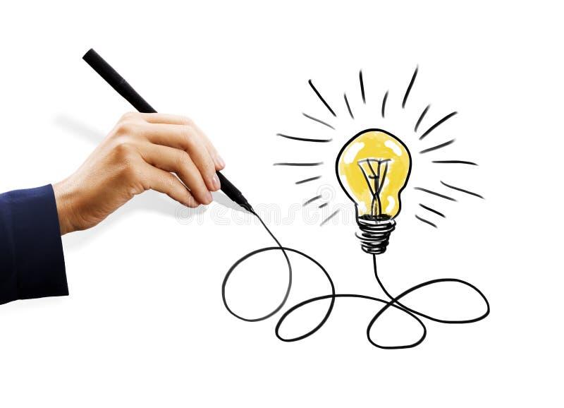 Ręki rysunkowa żarówka zdjęcie stock