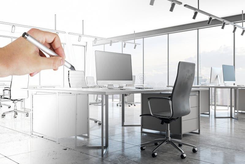 Ręki rysunkowego biura wnętrze ilustracji