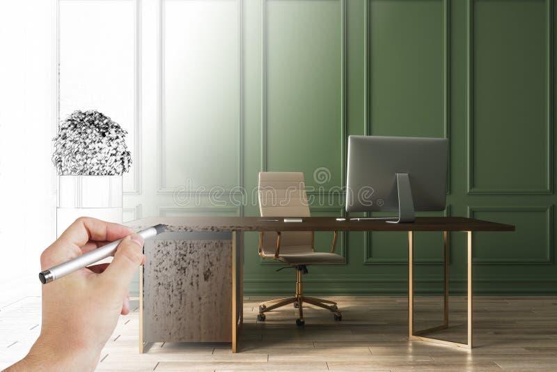 Ręki rysunkowego biura wnętrze royalty ilustracja