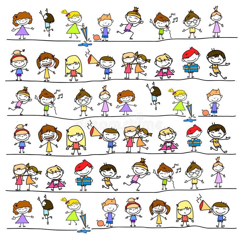 Ręki rysunkowej kreskówki abstrakcjonistyczni szczęśliwi dzieciaki royalty ilustracja