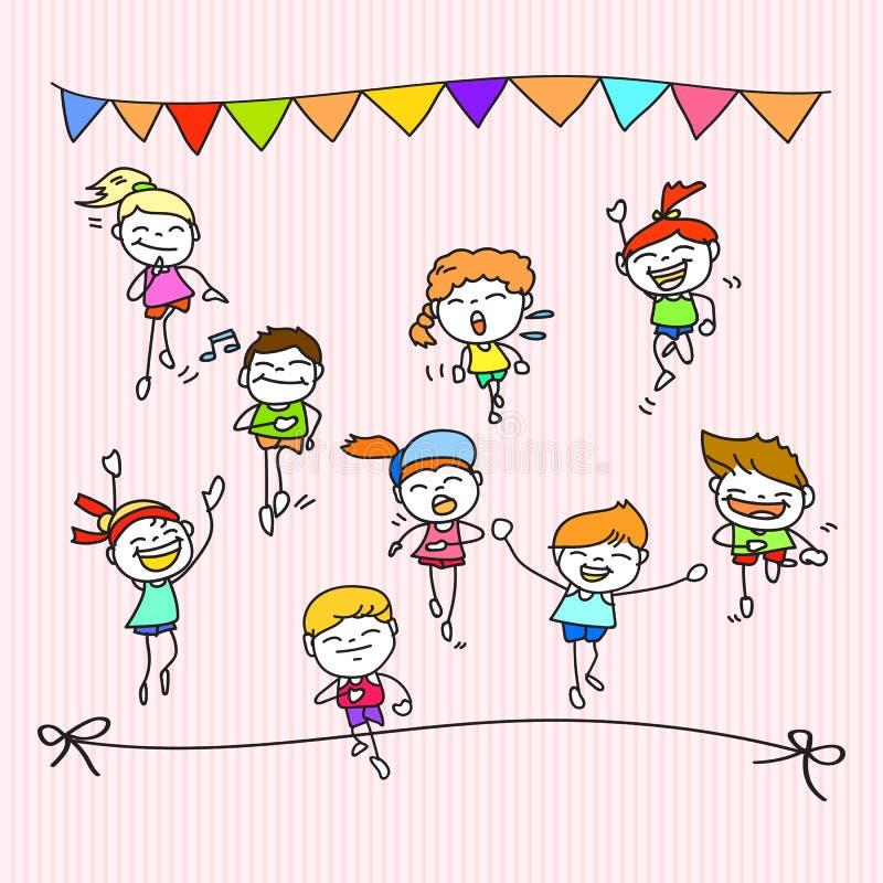 Ręki rysunkowej kreskówki szczęśliwi dzieciaki biega maraton royalty ilustracja