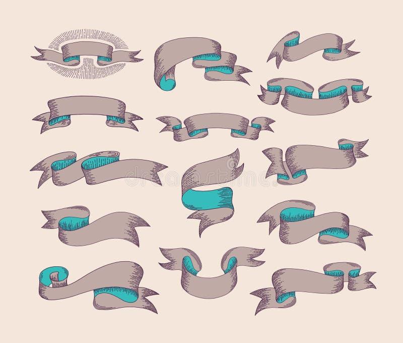 Ręki rysunkowy tasiemkowy ustawiający w grawerować starego rocznika stylu projekt el ilustracja wektor