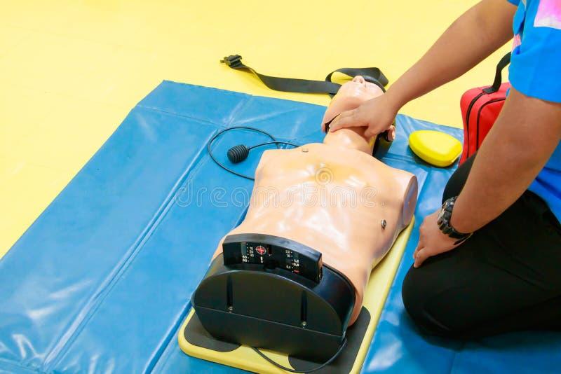 Ręki serca pompa z medyczną atrapą na CPR, w przeciwawaryjnym refresher szkoleniu asysta lekarz zdjęcia stock