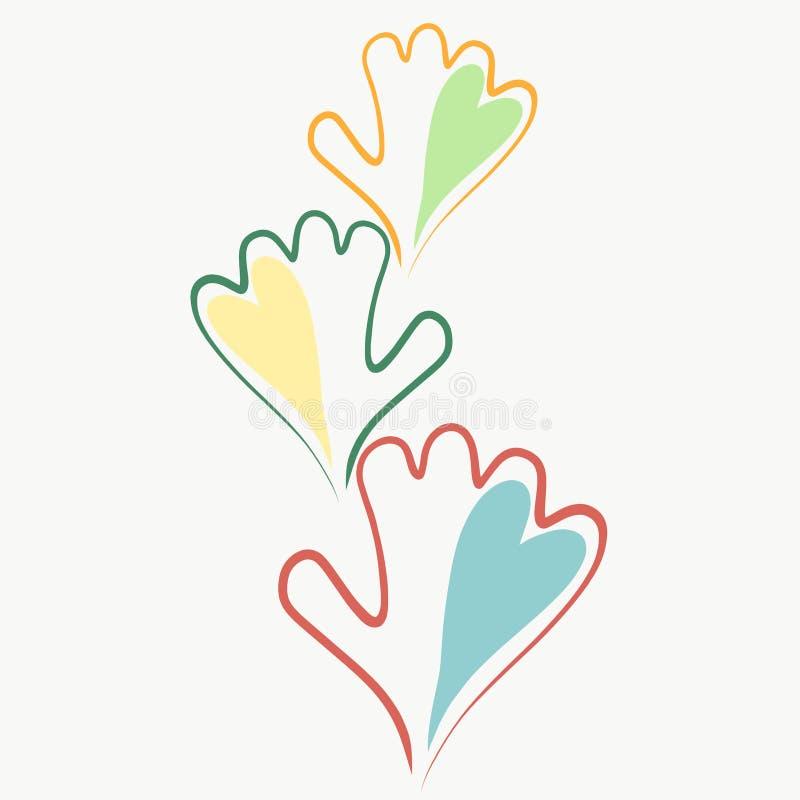 Ręki, serca, rodzina, przyjaźń i miłość, ilustracja wektor