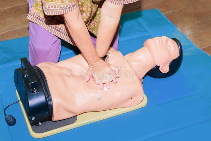 Ręki serca studencka pompa z medyczną atrapą na CPR, w przeciwawaryjnym refresher szkoleniu asysta lekarz obrazy royalty free