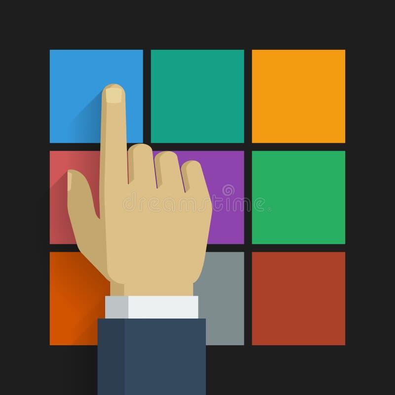 Ręki stuknięcia ikona 001 royalty ilustracja