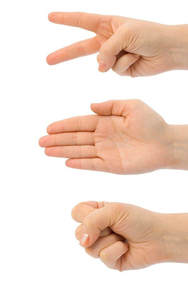 ręki tapetują nożyce kamień fotografia royalty free