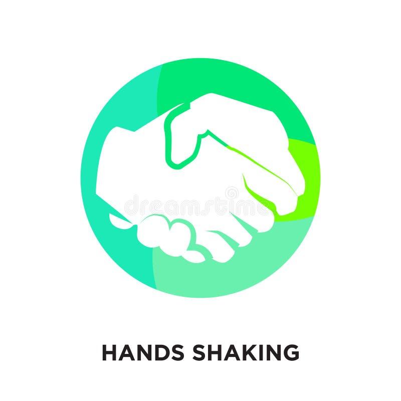 ręki trząść logo odizolowywającego na białym tle dla twój sieci, mo royalty ilustracja