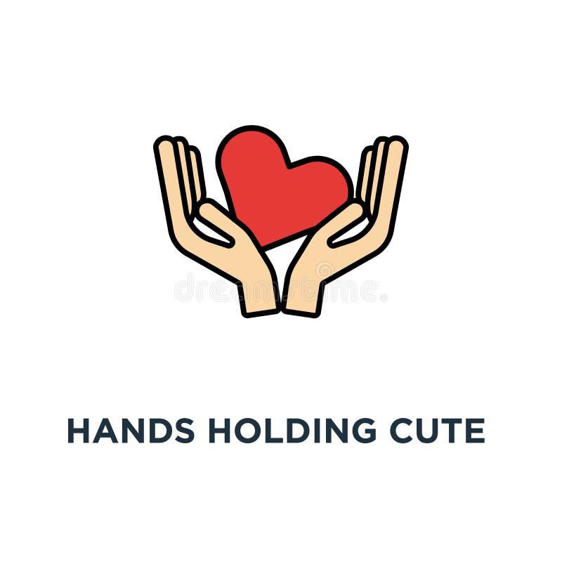 ręki trzyma śliczną czerwoną smiley kierową ikonę otrzymywa lub akceptuje miłości, filantropia, zgłaszać się na ochotnika lub pom royalty ilustracja