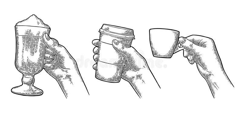 Ręki trzyma filiżanka kawy właściciela szkła latte i ilustracji