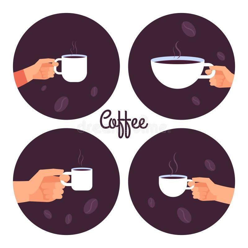 Ręki trzyma filiżanka kawy wektorowe ikony ustawiać ilustracja wektor