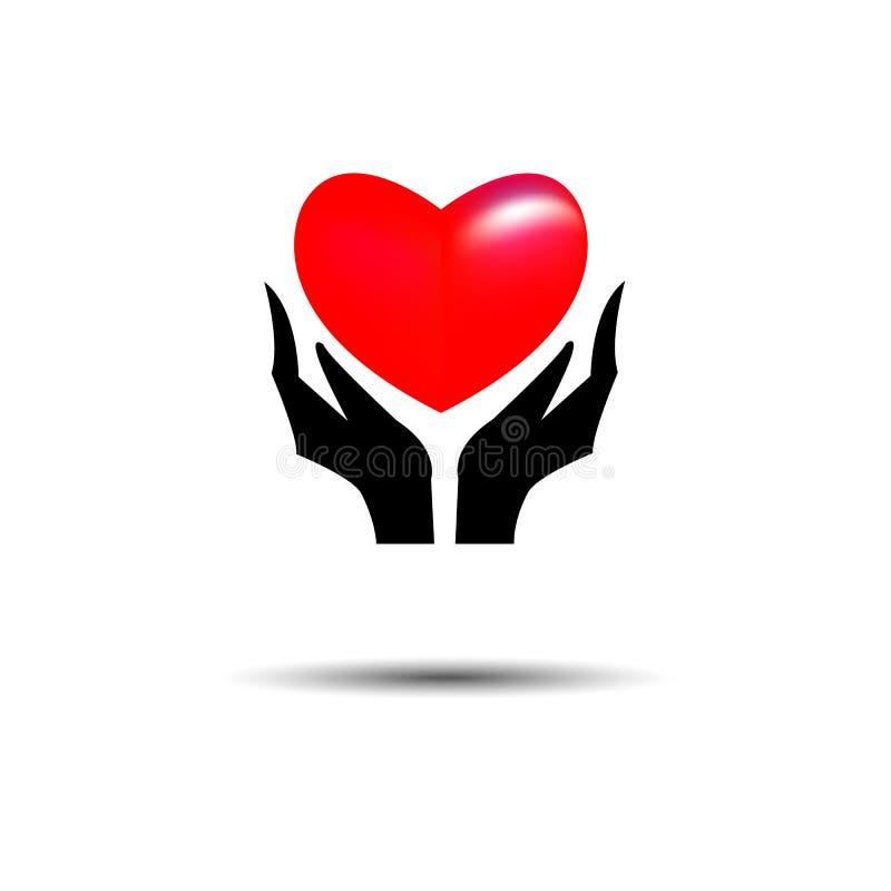 Ręki trzyma Kierowego loga projekta wektoru szablon Bierze mój serce L ilustracja wektor