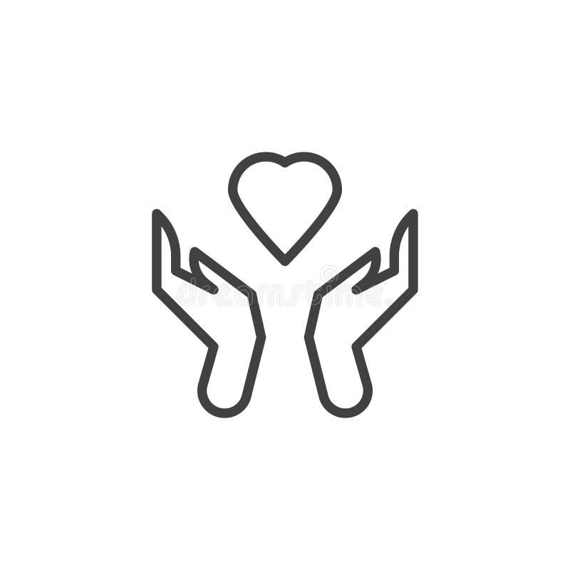 Ręki trzyma kierowej linii ikonę royalty ilustracja