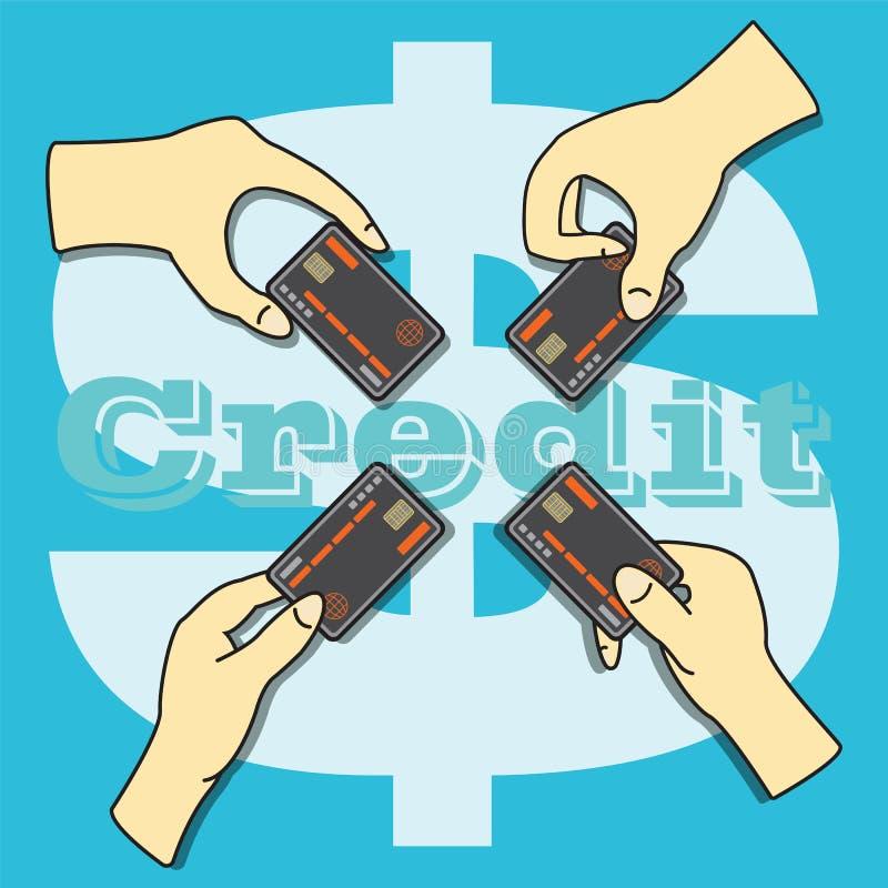 Ręki trzyma Kredytową kartę ilustracji