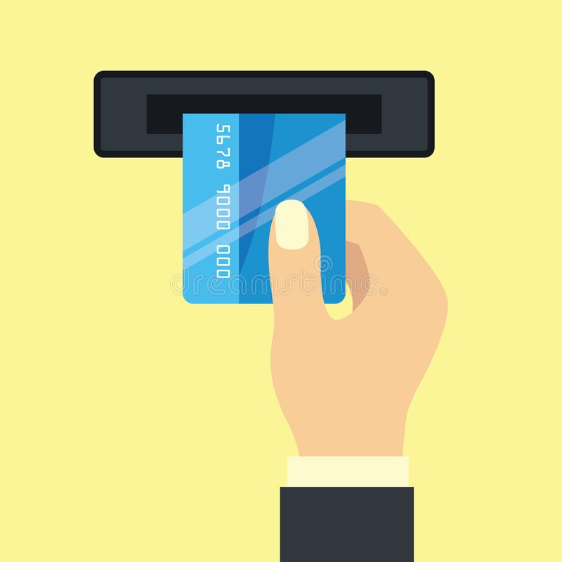 Ręki trzyma kredytową kartę dla biznesowego pojęcia ilustracji